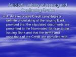 article 9 liability of issuing and confirming banks