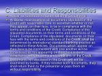 c liabilities and responsibilities