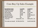 core buy up sales example