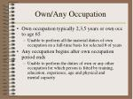 own any occupation