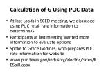 calculation of g using puc data