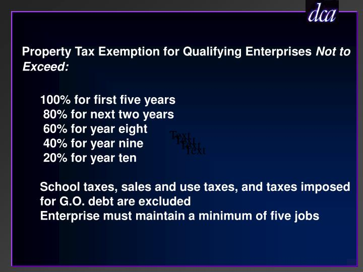 Property Tax Exemption for Qualifying Enterprises
