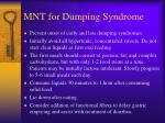 mnt for dumping syndrome