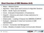 short overview of omc modules a d