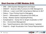 short overview of omc modules d g