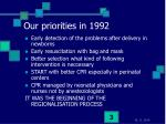 our priorities in 1992