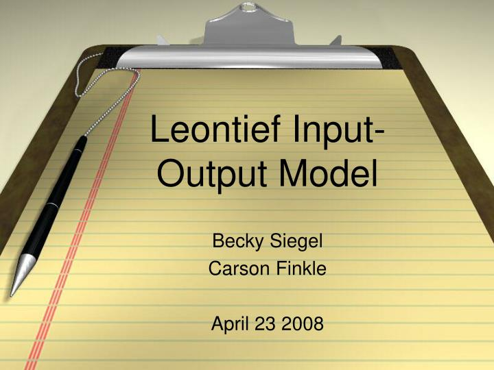 leontief input output model n.