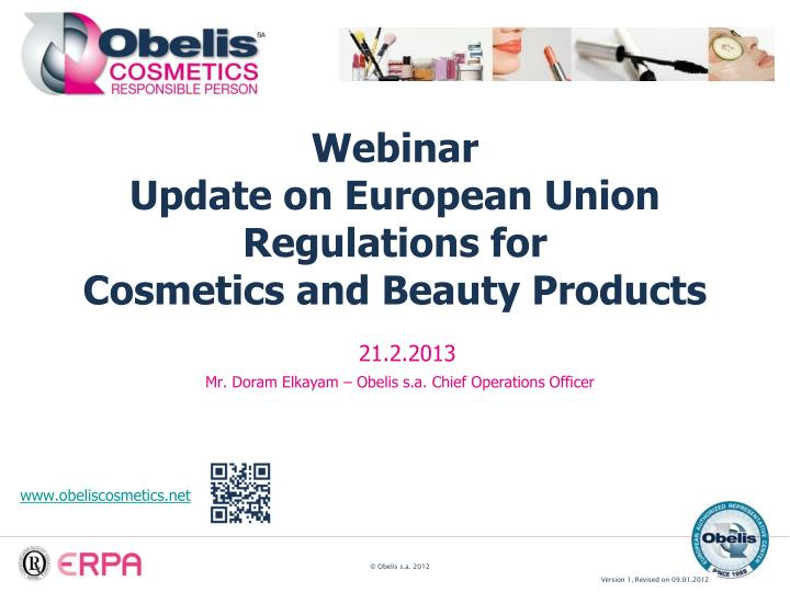 webinar update on european union regulations for cosmetics and beauty products n.