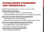 establishing standards and credentials