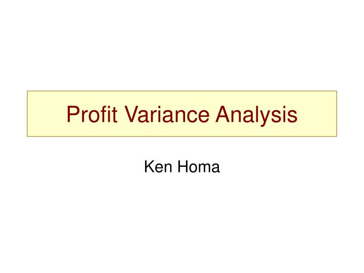 profit variance analysis n.