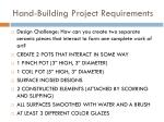 hand building project requirements
