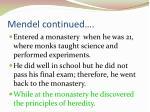 mendel continued