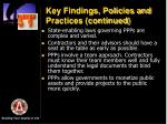 key findings policies and practices continued