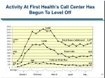 activity at first health s call center has begun to level off