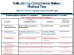 calculating compliance rates method two excludes persons originally using preferred drugs