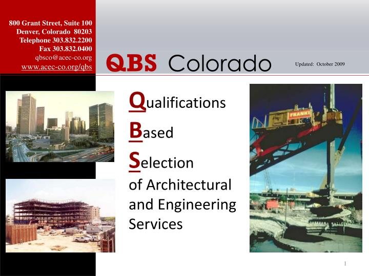 q ualifications b ased s election of architectural and engineering services n.