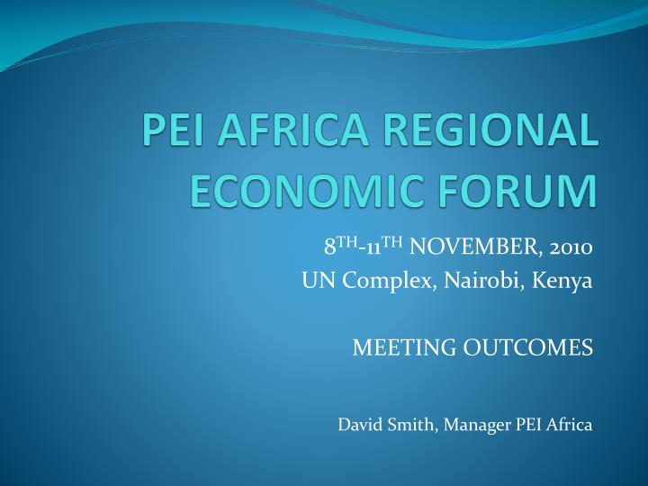 pei africa regional economic forum n.