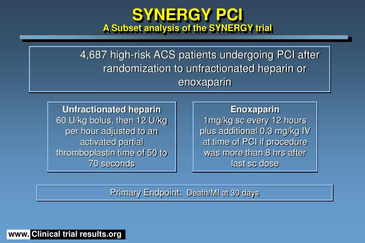 synergy pci a subset analysis of the synergy trial n.