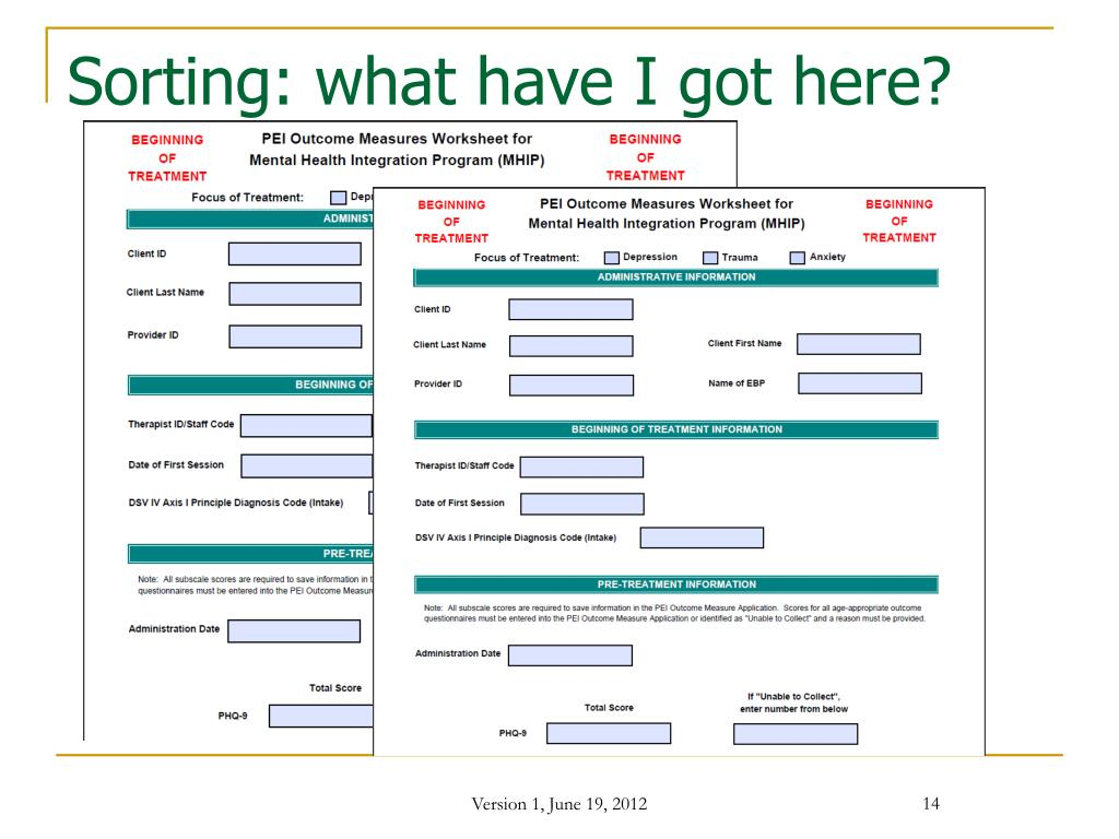 PPT - Data Entry PEI Outcome Measures Application for Mental Health