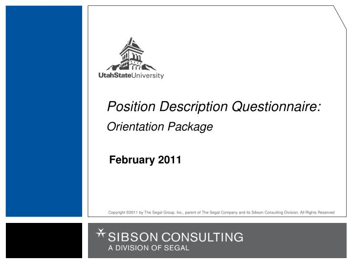 position description questionnaire orientation package n.