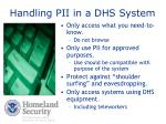 handling pii in a dhs system
