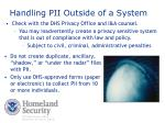 handling pii outside of a system