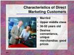 characteristics of direct marketing customers