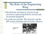 the role of the engineering wing
