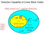 detection capability of linear block codes