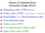 history of classical error correction codes ecc