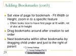 adding bookmarks con t