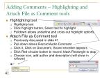adding comments highlighting and attach file as comment tools