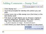 adding comments stamp tool