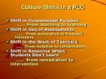 culture shifts in a plc