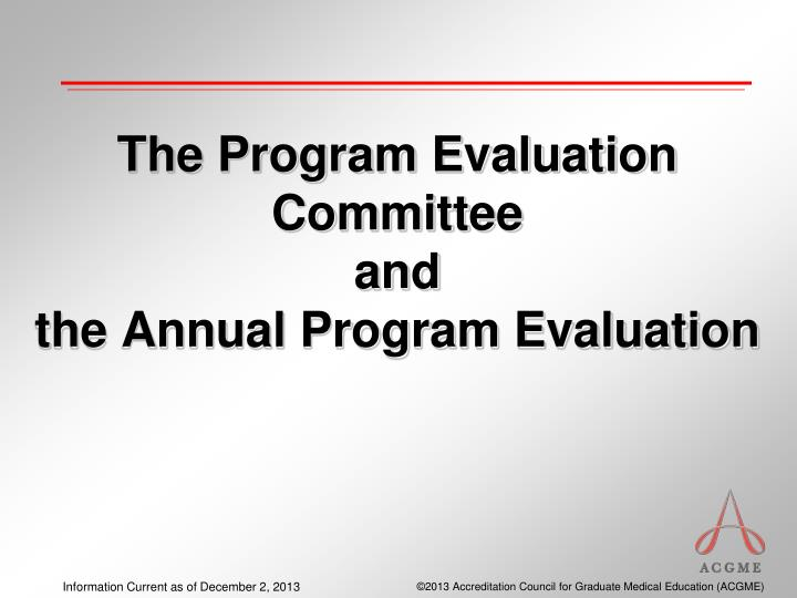 the program evaluation committee and the annual program evaluation n.