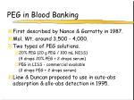 peg in blood banking