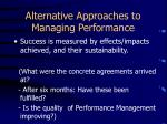 alternative approaches to managing performance2