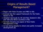 origins of results based management