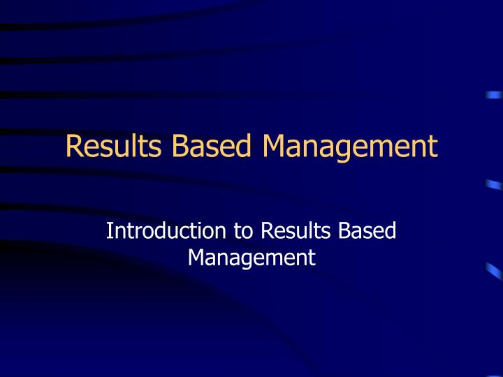 results based management n.
