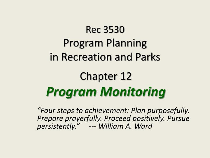rec 3530 program planning in recreation and parks n.