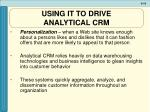 using it to drive analytical crm