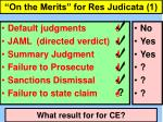 on the merits for res judicata 1