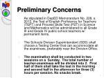 preliminary concerns
