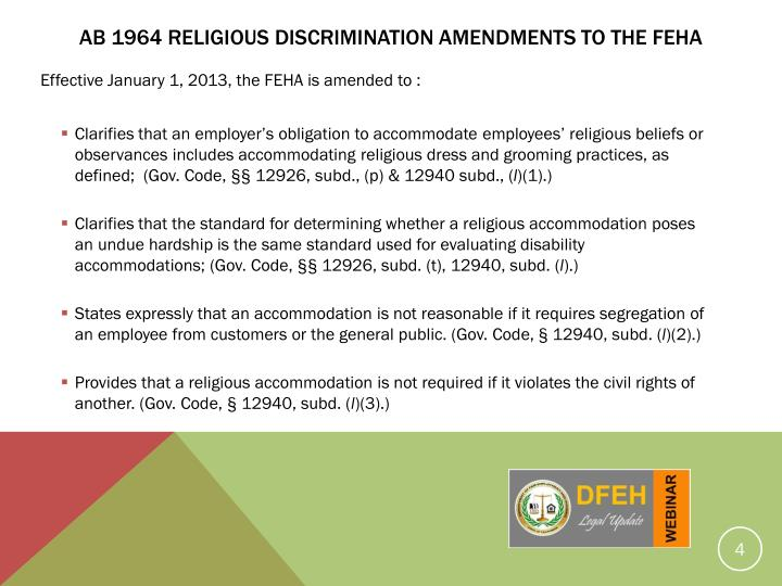 AB 1964 RELIGIOUS DISCRIMINATION Amendments TO THE feha
