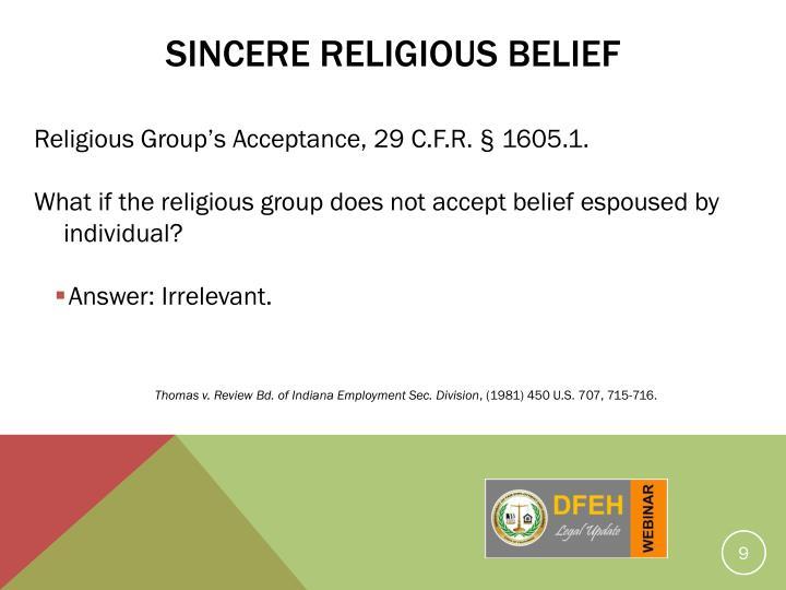 Sincere Religious Belief