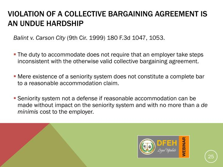 Violation Of A Collective Bargaining Agreement Is An Undue Hardship