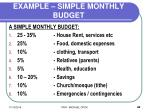 example simple monthly budget