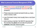 what is personal financial management pfm