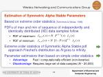 estimation of symmetric alpha stable parameters