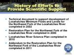 history of efforts to provide scientific support